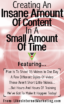 Creating An Insane Amount Of Content In A Small Amount Of Time