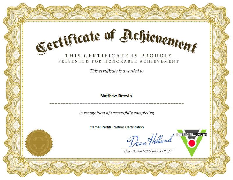 Internet Profits Partner Certification